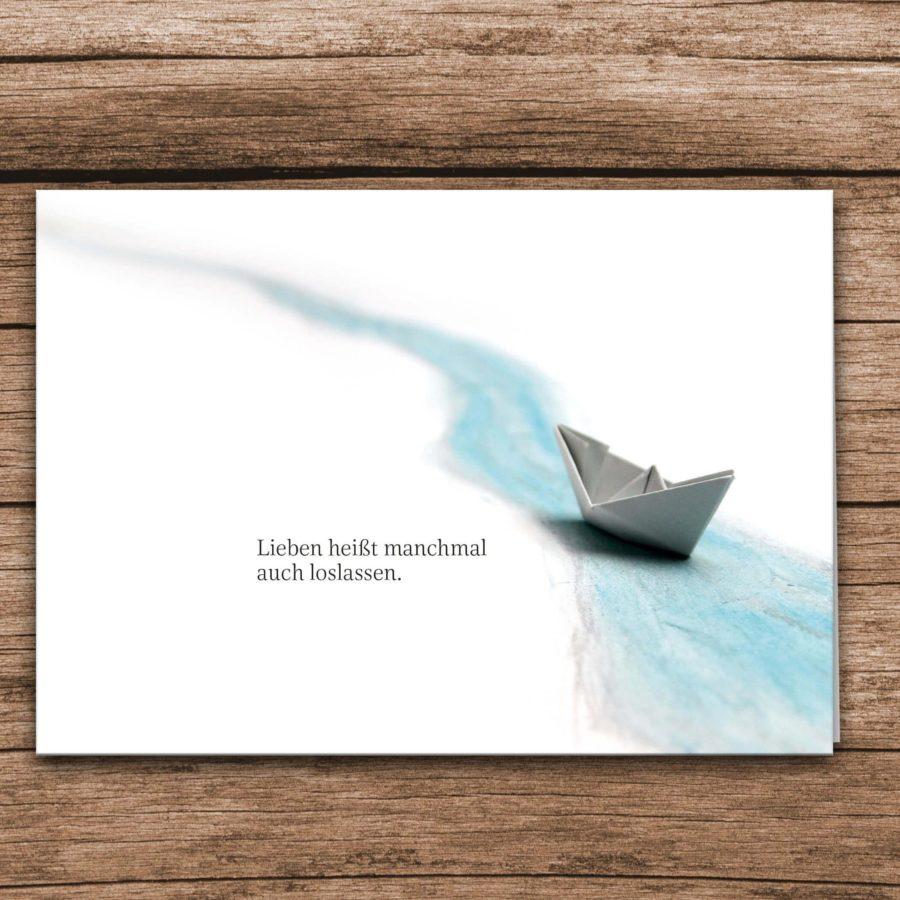 Trauerkarte Schiff Aquarell